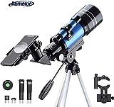 Aomekie Teleskop Astronomie 70MM Fernrohr Teleskop Kinder Einsteiger mit Smartphone Adapter Stativ...