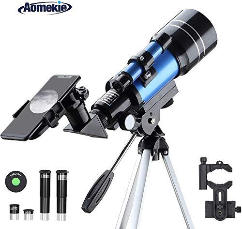 Aomekie Teleskop Astronomie 70MM Fernrohr Teleskop Kinder Einsteiger mit Smartphone Adapter Stativ Mondfilter Barlow und Umkehrlinse