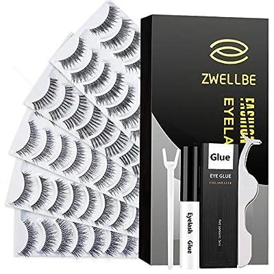 50 Pairs False Eyelashes Set with Glue 5 Styles Lashes Handmade False Eyelashes Pack Professional Fake Eyelashes Pack, 10 Pairs Eyes Lashes Each Style, Natural Soft lashes with EyeLash Tweezers