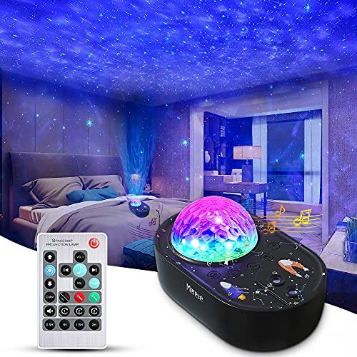 Sternenhimmel Projektor Kinder Erwachsene, 3 in 1 Starry Projector Light, Nachtlicht Projektor mit Fernbedienung, Bluetooth-Musiklautsprecher 5 Geräusche für Schlafzimmerparty,Timing