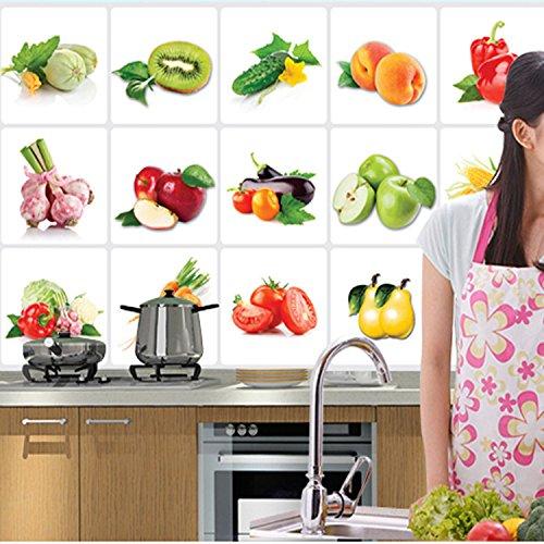 wassaw Wandaufkleber Einfach Romantisch Wasserdicht Anti-Öl-Aufkleber Obst Und Gemüse Umweltschutz Dunstabzugshaube Fliesenschränke Dekorative Aufkleber