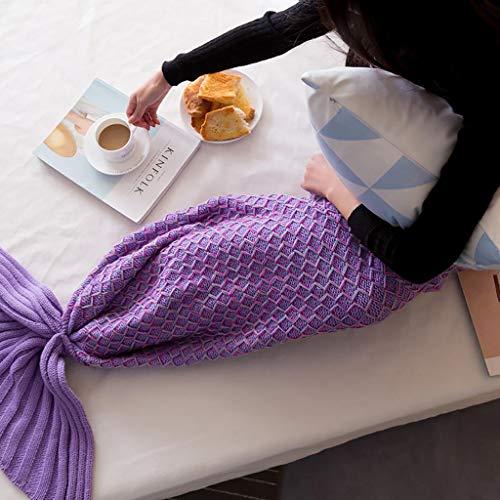 WJ Warme Decke, Strickanleitung Mermaid Tail Blanket, Mermaid Tails Schlafsack Klimaanlage Decke Schlummertasche Niedlichen Meerjungfrau Geschenk, 3 Farben, 3 Größen