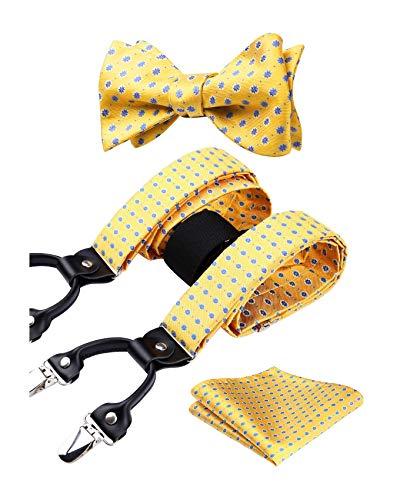 HISDERN Paisley Tirantes para hombre forma de Y elásticos y ajustables Pajarita Pañuelo set Conjuntos de y pajaritas para hombre