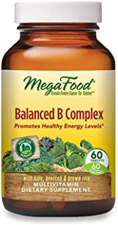 MegaFood, Balanced B Complex, Promotes Healthy Energy Levels, Multivitamin Dietary Supplement, Gluten Free, Vegan, 60 Tablets
