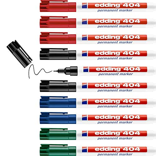edding 404 permanent marker - black, red, blue, green - 10 pens - fine round tip 0.75 mm - waterproof, quick-drying, smear-proof pens - for cardboard, plastic, wood, metal, glass and fabric