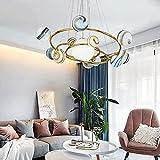 Luz del colgante del globo de la burbuja de la burbuja, lámpara de lámpara de la bola de cristal, la luz del colgante de la tierra del planeta, la sala de estar colgando la lámpara de techo, el acceso