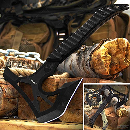 Axe Hatchet Tactical Axe Survival Axe Hunting Knife 12 1/4 Inch Overall Full Tang Razor Sharp Edge Camping Accessories Camping Gear Survival Kit Survival Gear Tactical Gear 77831 (Black)
