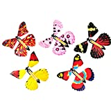 5 Pack Magic Flying Butterfly Wind Up Rubber Band Powered Butterfly for Kids Boys Girls Christmas Surprise Gifts Stocking Stuffers (B)