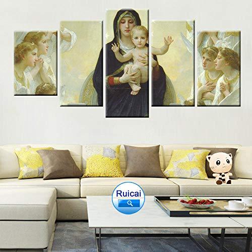 Sanzx Virgen María Jesús Arte de la pared Pintura al óleo religiosa Cartel 5 Panel Hd Imprimir Muebles para el hogar Mural30 * 40 * 2 30 * 60 * 2 30 * 80Cm Sin marco