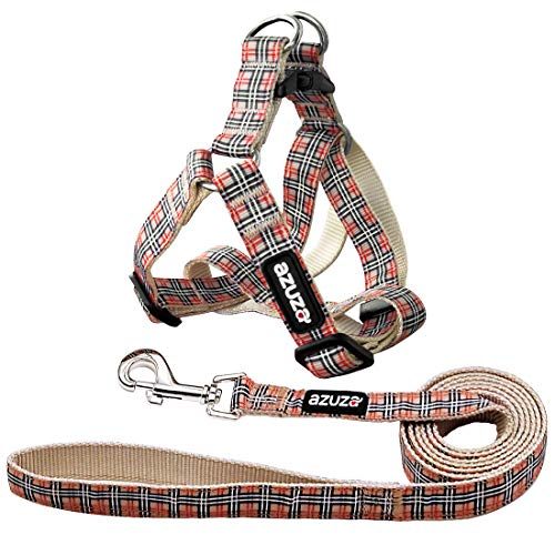 azuza Dog Harness and Leash Set, Basic Step in Puppy Harness, No Pull Dog Harness for Small and Medium Dogs, Classic Plaid
