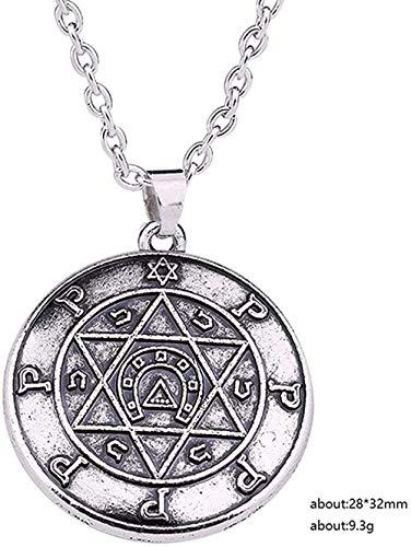 banbeitaotao Collar talismán para intérprete Clave de Salomón joyería hebrea Wicca Estrella de David T Amuleto joyería Cadena de eslabones Collar de Hombre