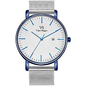 BUREI腕時計 メンズ シンプル おしゃれ ブランド 人気 超薄型 軽量 アナログ腕時計 ビジネス 防水 クォーツ メンズ うで時計青-白い