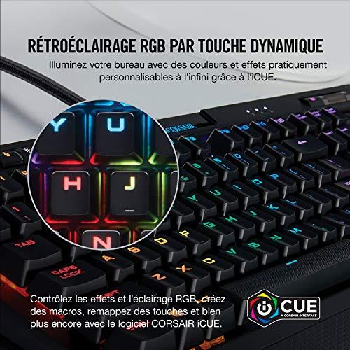 Corsair K70 RGB MK.2 Clavier Mécanique Gaming (Cherry MX Blue: Précis et audible, Rétro-Éclairage RGB Multicolore, AZERTY FR Layout) - Noir