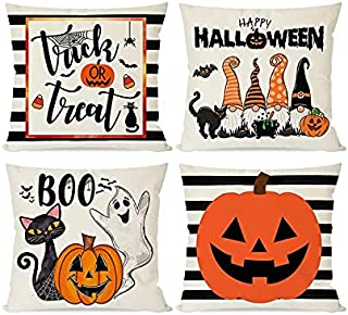 chengxun Happy Halloween Pillows Covers Black Cat Pumpkins Gnomes Ghost Trick or Treat, Orange and Black Stripe Throw Pill...