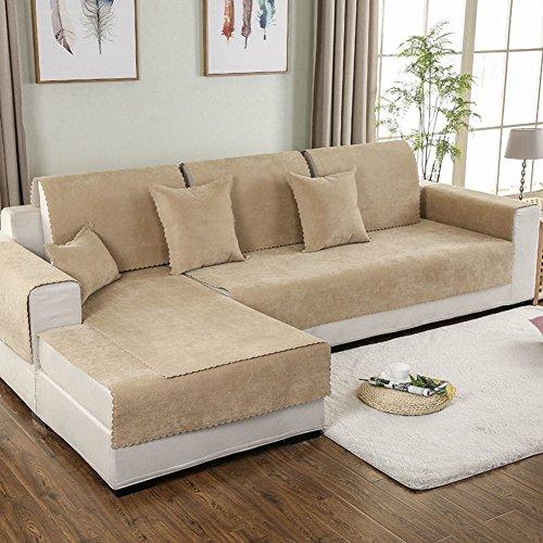HYXL Wasserdicht Sofabezug Anti-rutsch Leder Couch Schnitt Sofabezug Möbel Protector Staubdicht Sofa Überwürfe 1 2 3 4 sitzer -Khaki 110x240cm(43x94inch)