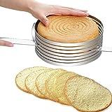 Taglia-torta in acciaio inossidabile, anello per affettare le torte, tondo, regolabile, accessorio per la pasticceria Taglia libera Silver