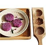 Premium Mooncake Mold Chinese Traditional Mid-Autumn Festival Mond Kuchen-Form-3-Blumen-Form aus Holz handgemachte Backform Für Muffin Mooncake Cookie-Keks Schokolade Kürbiskuchen für...