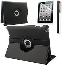 RUBAN 360 Degree Rotating Automatic Wake/Sleep Stand Case with Screen Protector for Apple iPad 2 / iPad 3 / iPad 4 - Black