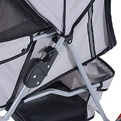 PawHut Pet Travel Stroller Cat Dog Pushchair Trolley Puppy Jogger Carrier Three Wheels (Gray) 6