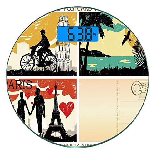 Digitale Präzisionswaage für das Körpergewicht Runde Retro Ultra dünne ausgeglichenes Glas-Badezimmerwaage-genaue Gewichts-Maße,Postkarten aus Italien Hawaii Paris Exotische Orte in der Welt Nostalgis