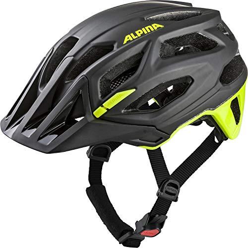 ALPINA GARBANZO Fahrradhelm, Unisex– Erwachsene, black-neon yellow, 57-61