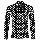 LHWY Camisa de Hombre Tops Shirt 2019 Verano Moda botón Holgado de Manga Larga con Cuello Redondo y Estampado Hawaiano Camiseta Corta Camiseta Gran tamaño Lunares Beach Hawaii Negro XL