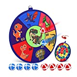 POKONBOY Kids Dart Board Set, Double-Sided Fabric Game Dart Board with 8 Sticky Balls Safe Dart Game Dinosaur Party Favor for Kids (13.8 Inches)