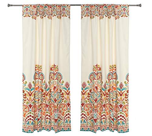 "Set of 2 Rod Pocket Brocade Print Curtains, Beige Red Orange Blue Green Window Curtain 52"" x 84"" (Total W 104"") Decorative Curtain Drape Panels - Soft/Heavy Room Darkening Curtains, Clara 84"""