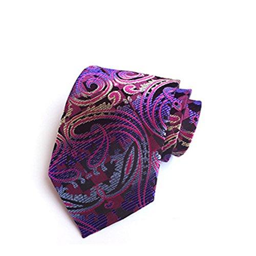 DW&HX Hombres florales corbata corbata,Seda y poliéster Traje formal de fiesta corbatas multicolores lazos de boda (8cm)-B