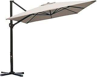 Abba Patio Rectangular Offset Cantilever Patio Umbrella with Crank Lift Tilt and Cross Base, 8 x 10 Feet, Sand