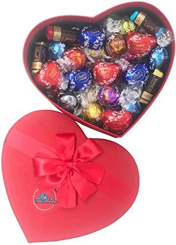 CUORE , confezione con elegante scatola REGALO da 500 GR, Mix di cioccolatini assortiti Lindt , idea perfetta per il tuo S.Valentino