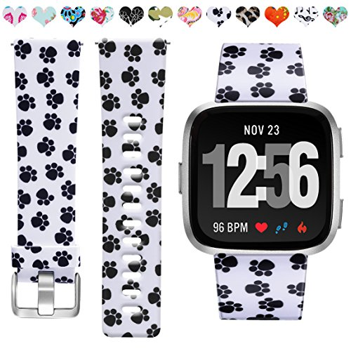 Maledan Compatible with Fitbit Versa 2 Bands, Fadeless Pattern Printed Strap Floral Bands Replacement for Fitbit Versa Smartwatch Family, Paw Print, Small