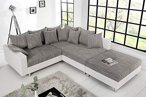 Design Ecksofa mit Hocker LOFT weiss Strukturstoff grau Federkern Sofa OT beidseitig aufbaubar - 2