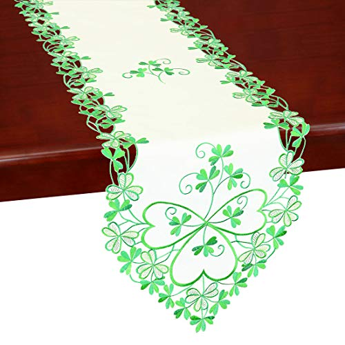 Simhomsen Irish Clover Table Runners, Embroidered Shamrock Table Linen for St. Patrick's Day and Spring 13 × 72 Inch