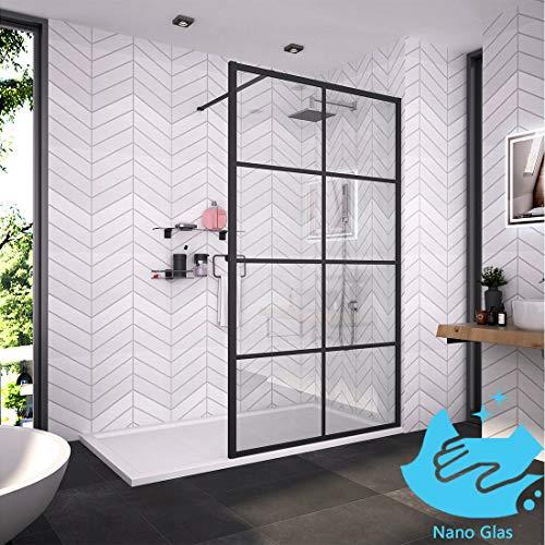 Bath-mann Duschwand Glas Duschabtrennung 120 x 200 cm(Höhe: 200 cm) Walk-in Dusche Duschkabine mit Stabilisator aus Echtglas 8mm ESG-Sicherheitsglas Klarglas Nanobeschichtung - Schwarzes Fenster