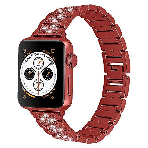 CHENPENG Correa de Metal Compatible con Apple Watch Correas de Metal de Acero Inoxidable para Mujer con Correa de Repuesto de Diamantes de imitación,Rojo,38MM