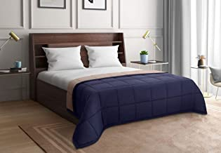 Wakefit Siliconised Microfibre Reversible Reversible Comforter, Double (Taupe & Navy Blue, 220 GSM)