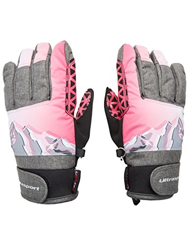 Ultrasport Kinder Advanced Rocky Ski-Handschuhe, Schwarz/Grau/Weiß/Pink, 10-12 Jahre