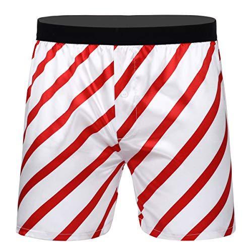 Agoky Herren Retroshorts Langes Bein Männer Boxershorts Trunks Streifen Druck Unterhose Satin Weihnachten Motive Witz Shorts Gr. M-XXL Weiß XXL