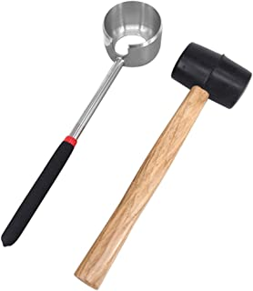 Stainless Steel Coconut Opener w/Rubber Hammer or None, Portable Coconut Opener Tools Set for Young & Mature Coconuts, Eas...