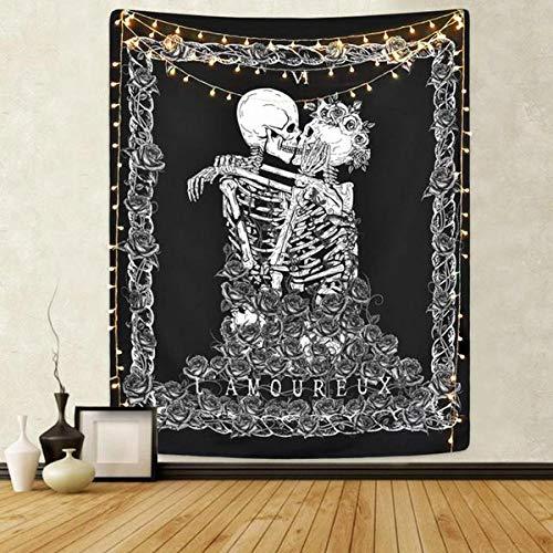 ZCOINS Skull Wall Tapestry The Kissing Lovers Arazzo Appeso a parete Coperta di scheletro umana in bianco e nero con ghirlanda di rose Decorazioni murali per soggiorno Dormitorio Decor camera da letto