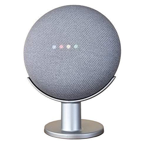 Mount Genie Pedestal for Nest Mini (2nd Gen) and Google Home Mini (1st Gen) | Improves Sound and Appearance | Cleanest Mount Holder Stand for Mini (Silver)