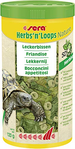 sera Herbs\'n\'Loops 1000 ml Futter bzw. Leckerbissen für artgerechte Abwechslung aus getrockneten Kräutern (50 {d0bd07534b99f8eeb364299b39ef3cea4d260793b34a74e1aeceb3cf1e69a2b7}) & schonend hergestellten Loops für Landschildkröten und andere herbivore Reptilien