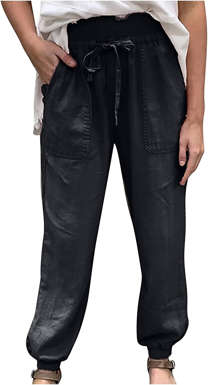 Bonilaan Womens Linen Harem Pants Solid Color Drawstring Pants with Pokets Casual Elastic Waist Small Feet Trousers Pants
