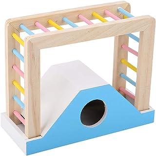 ハムスターレインボーブリッジ木のおもちゃ楽しい遊び玩具フィジカルエクササイズトレーニングウッドラダークライムキット生息地装飾ハムスターモルモットウサギ