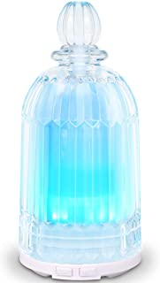 COSVII Essential Oil Diffuser Humidifier, Aroma Glass Diffuser for Essential Oils with Adjustable Mist Mode, 7-Color LED Lights Changing and Waterless Auto Shut-Off for Home Bedroom Office