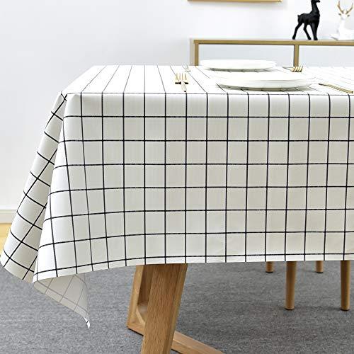 Plenmor Mantel rectangular de PVC para mesa de comedor de cocina de plástico para limpieza de paño de limpieza para interior y exterior (137 x 215 cm, diseño de cuadros blancos)