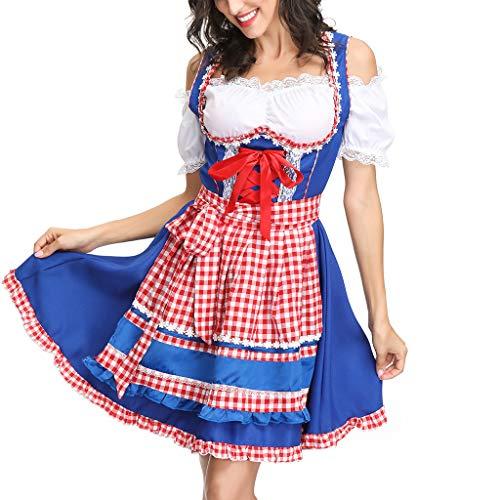 Battnot Oktoberfest Kostüm für Damen Biermädchen Drindl Tavern Maid Dress Halloween, Frauen Sexy Midi Kleid Dirndl Kariert Cosplay Programm Bekleidung Spitze-up Bogen Bier Festlich Festival Kleider
