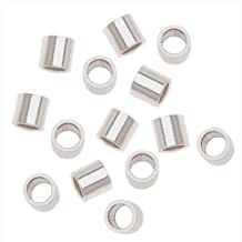 50pcs Sterling Silver Crimp Beads 3mm Smooth Small Tubes Spacer (Hole ~ 2mm) for Jewelry Craft Making Findings SS241