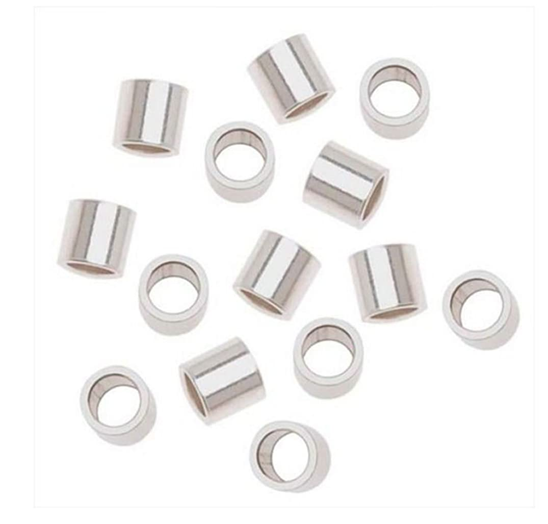 100pcs Sterling Silver Crimp Beads 1.6mm Smooth Tiny Tubes Spacer (Hole ~ 0.9mm) for Jewelry Craft Making Findings SS369